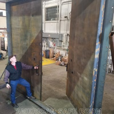 Large double leaf blast door
